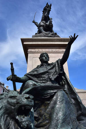 domination: Bronze statues Venice symbolizes freedom from foreign domination, part of king of Italy Vittorio Emanuele monument, made by sculptor Ferrari in 1887