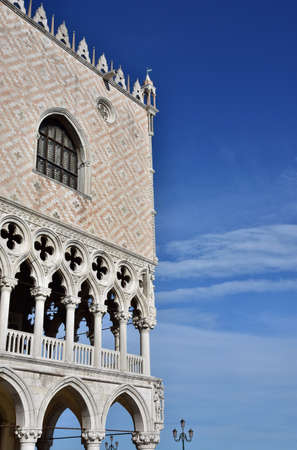 doge: Doge Palace corner with gothic gallery and beautiful sky
