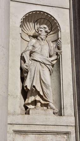 apostle paul: Statue of St Paul with book and sword, from Santa Maria Assunta jesuit church facade in Venice (18th century) Stock Photo
