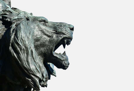 dominance: Bronze statue of Venice Lion, with white background and copy space, from King of Italy monument made by sculptur Ferrari in 1887 Editorial