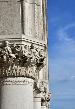 allegoric: Doge Palace ancient medieval capitals and columns with allegoric reliefs, in Saint Mark Square, Venice Editorial