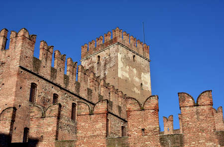 Castelvecchio (Old Castle) keep with characteristic ghibelline battlements, one of the most famous landmarks in Verona Editorial
