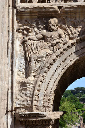 severus: Relief of a god from the Arch of Septimius Severus spandrel in Roman Forum Stock Photo