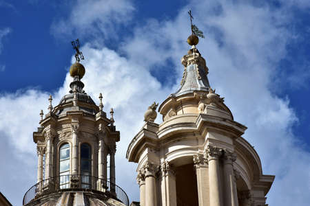 17th century: Spires and pinnacles of St Agnes baroque church in Rome, built in the 17th century Stock Photo