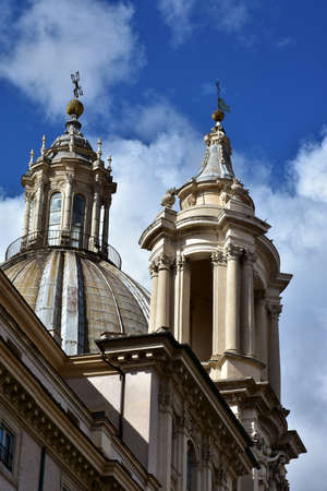 spires: Spires and pinnacles of St Agnes baroque church in Rome, built in the 17th century Stock Photo