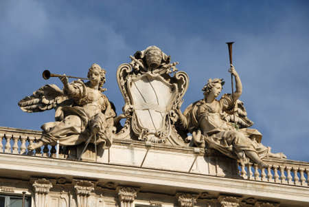 fuga: Pope Clement XII (Corsini Family) emblem between angels with trumpets in Quirinale Square in Rome, designed by architect Ferdinando Fuga in the 18th century