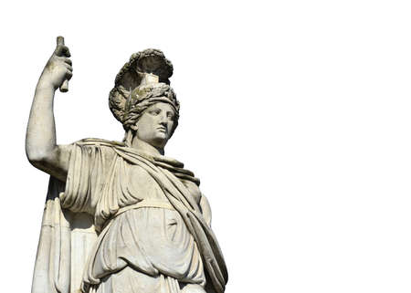 minerva: Neoclassical marble statue of Minerva as Goddess Roma, in Piazza del Popolo square in Rome (without background)