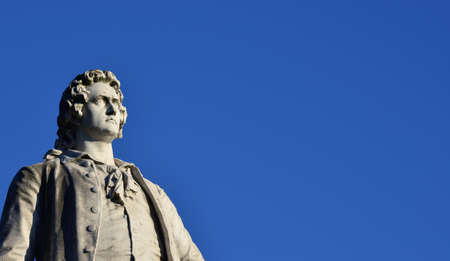 Monument of Wolfgang Goethe, the famous german writer, in Villa Borghese public park, Rome (with copy space) Stock Photo