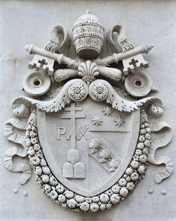 Pope Pius VII emblem in Pincio Gardens public park in Rome, made in 1822