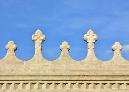 Detail of Fishermans Bastion beautiful romanesque bastion in Budapest, built at the end of 19th century Stock Photo