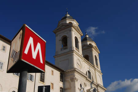 Rome, Italy, September 30, 2016: The famous Spanish Steps in the historic center of Rome with subway station sign