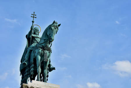 Bronze equestrian statue of Saint Stephen, King of Hungary, erected in 1906 in Fishermans Bastion Square, in Budapest (with copy space)