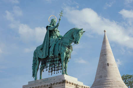 crown spire: Bronze equestrian statue of Saint Stephen, King of Hungary, erected in 1906 in Fishermans Bastion Square, in Budapest