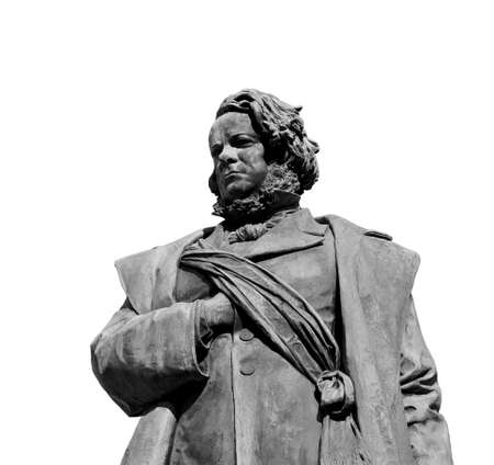 daniele: Daniele Manin, italian and venetian patriot During the revolt against Austrian empire in 1848. Bronze statue erected in 1875 in the historic center of Venice on white background (B  W)