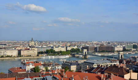 Budapest historic center panorama with River Danube, Saint Stephen Basilica and Chain Bridge
