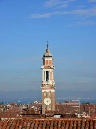 Venice historic center morning skyline with old bell tower