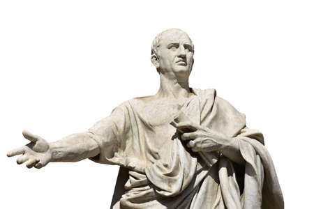 Cicero, the greatest ancient roman orator, marble statue in front of Rome Old Palace of Justice, made in 19th century (isolated on white background)