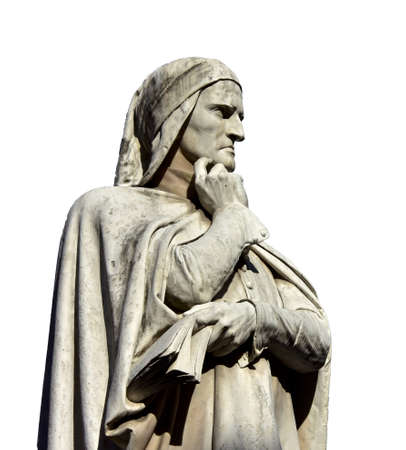 dante alighieri: Dante Alighieri, the greatest italian poet, monument in the center of Piazza dei Signori in Verona, made in 19th century (isolated on white background)