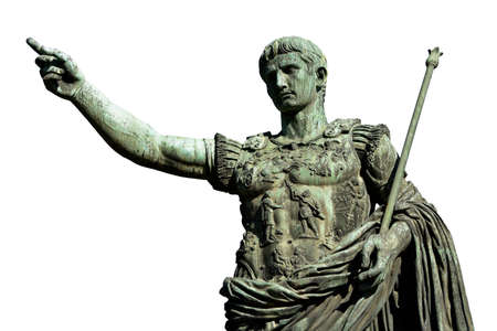 scepter: Caesar Augustus, the first emperor of Ancient Rome. Bronze monumental statue in the center of Rome (isolated on white background) Stock Photo
