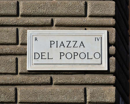 tourist site: Piazza del Popolo (Peoples Square) in Rome old marble sign, a famous tourist site