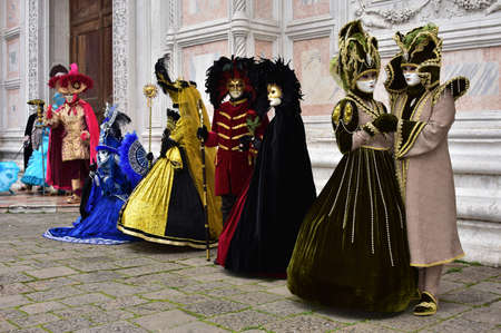 scepter: Venice, Italy, February 2, 2016: Carnival of Venice beautiful masks in front of Saint Zechariah church