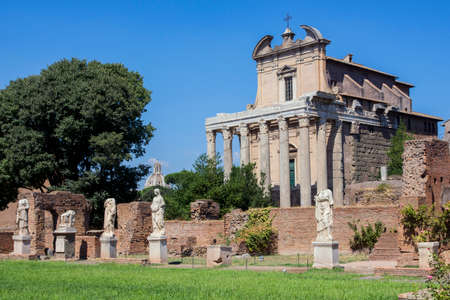 vestal: House of the Vestal ruins and Temple of Antoninus and Faustina in Roman Forum