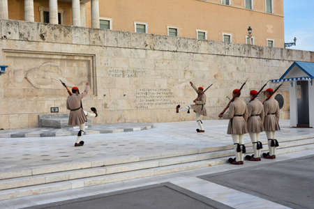 Athens, Greece, October 17, 2014: Changing the Guard in front of the Tomb of Unknown Soldier with famous greek elite unit Evzones Editorial
