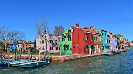 Characteristic colored houses Burano near Venice Stock Photo