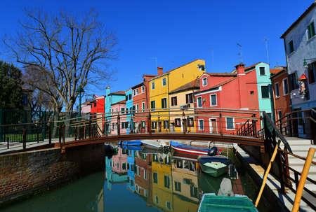 Burano island characteristic colored houses near Venice