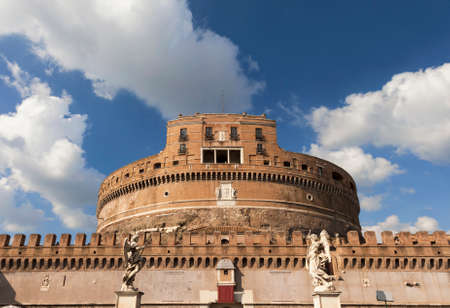 Ancient Castel SantAngelo in the center of Rome with marble angel statues and beautiful clouds