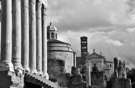 pagan cross: Ancient temples and churches along Via Sacra (Sacred Road) in Roman Forum, Black and White
