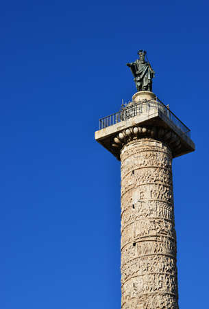 Ancient Column of Marcus Aurelius with Saint Paul statue at the top, in the center of Rome (with copy space)
