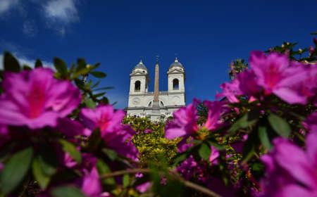 Étapes espagnoles pleines de fleurs de rhododendrons pour le printemps romain et l'église de la Trinité