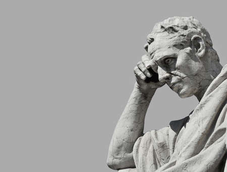 Julian the lawyer statue in the act of thinking, from Old Palace of Justice in Rome (Black and White with copy space)