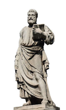 Saint Peter holding the key of heaven statue on Holy Angel Bridge in Rome, made in the 17th century by sculptor Lorenzetto (isolated on white background) Foto de archivo