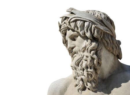 Tête de marbre de la rivière Ganges statue de dieu de la fontaine baroque de la rivière Quatre dans le centre historique de Rome (isolé sur fond blanc avec copie) Banque d'images