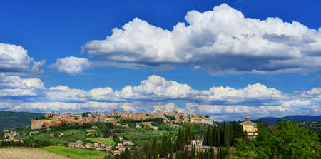 Orvieto old medieval town panorama with clouds, in the Italian countryside
