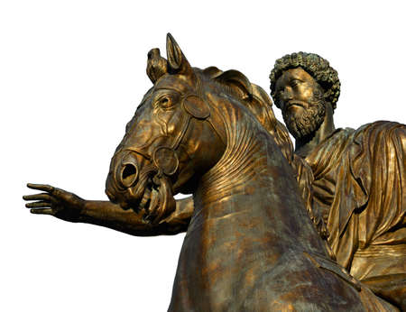 Marcus Aurelius Roman Emperor bronze equestrian statue at the center of Capitol Hill Square in Rome (isolated on white background)