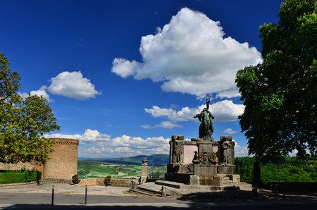 Orvieto, Italy, May 3, 2017: World War Memorial with panoramic view Sajtókép