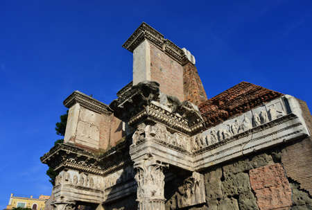 Ancient Forum of Nerva beautiful frieze with mythological scenes in the center of Rome