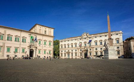 Rome, Italie, 10 avril 2017: Quirinal Square à Rome avec la résidence officielle du président de la République d'Italie et le palais de la Cour suprême