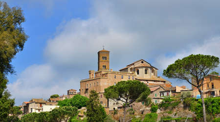 Ancient medieval city of Sutri near Rome, with Saint Mary of the Assumption Cathedral at the top