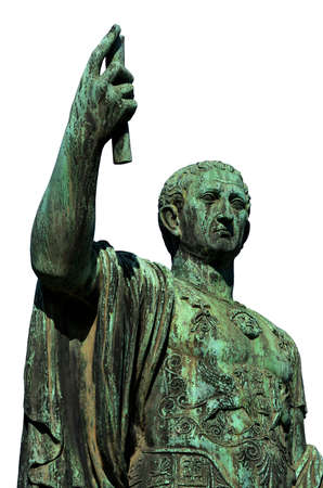 Caesar Augustus Nerva Emperor of Ancient Rome bronze statue in Imperial Forum (isolated on white background) Banque d'images