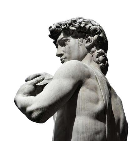 Détail de la réplique de la statue de David sur Piazza della Signoria Square, Florence. Un chef-d'?uvre de la sculpture de la Renaissance, créé par Michel-Ange en 1504. (isolé sur fond blanc)