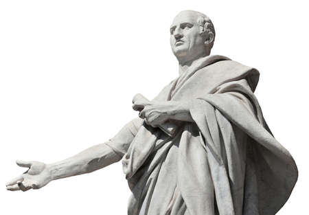 Cicero the greatest orator of the Ancient Rome, marble statue in front of the Old Palace of Justice in Rome (isolated on white background)