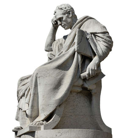 Julian the Jurist in the act of thinking statue, in front of the Old Palace of Justice in Rome (isolated on white background)