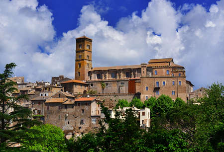 Medieval Saint Mary of Assumption Cathedral at the top of the ancient town of Sutri, near Rome