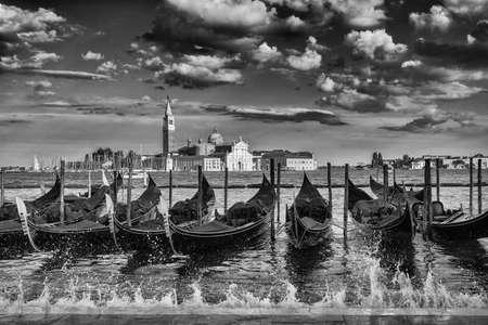 Saint George Island in Venice Lagoon with gondolas