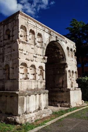 La soi-disant Arc de Janus ruines dans le centre de Rome Banque d'images
