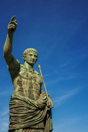 Caesar Augustus, first emperor of Ancient Rome. Old bronze statue in the Imperial Forum (with copy space)
